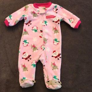 Baby Girl's 1st Christmas Carter's Fleece Sleeper